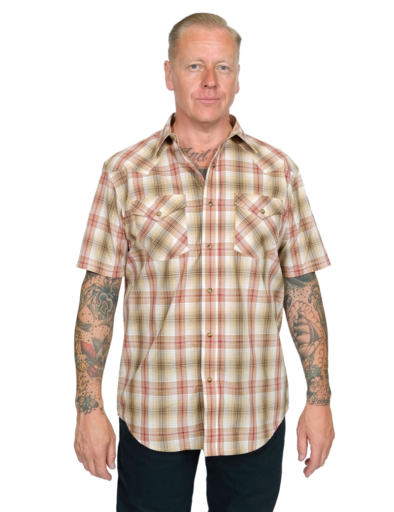 Pendleton - Short Sleeve Frontier Shirt - Red/Tan Plaid