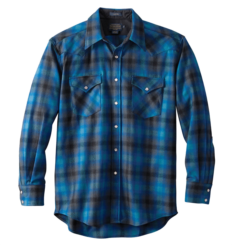 Pendleton---Western-Wool-Canyon-Shirt---Black-Turquoise-Ombre