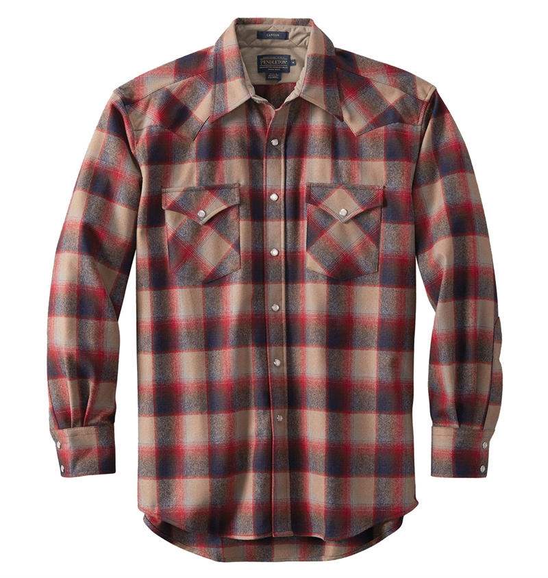 Pendleton - Western Wool Canyon Shirt - Red/Tan Ombre