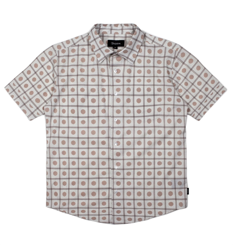 Brixton - Branson Short Sleeve Woven Shirt - Off White/Gold