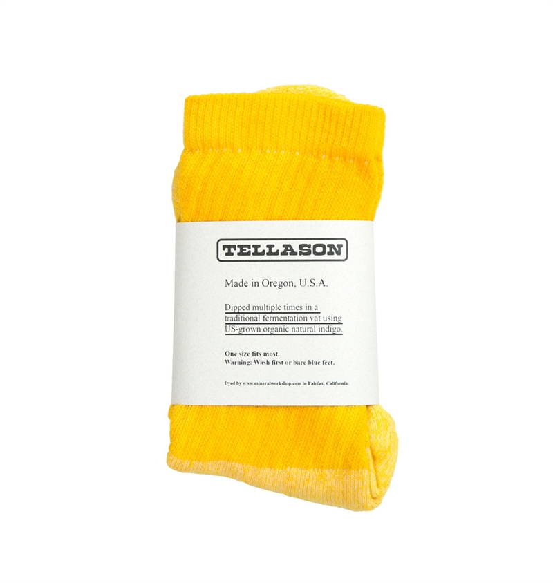 Tellason -  Natural Dyed Crew Sock - Yellow