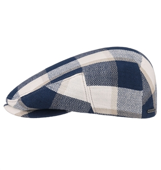fcf765d45cc32 Stetson - Kent Linen Check Cap - Blue Beige