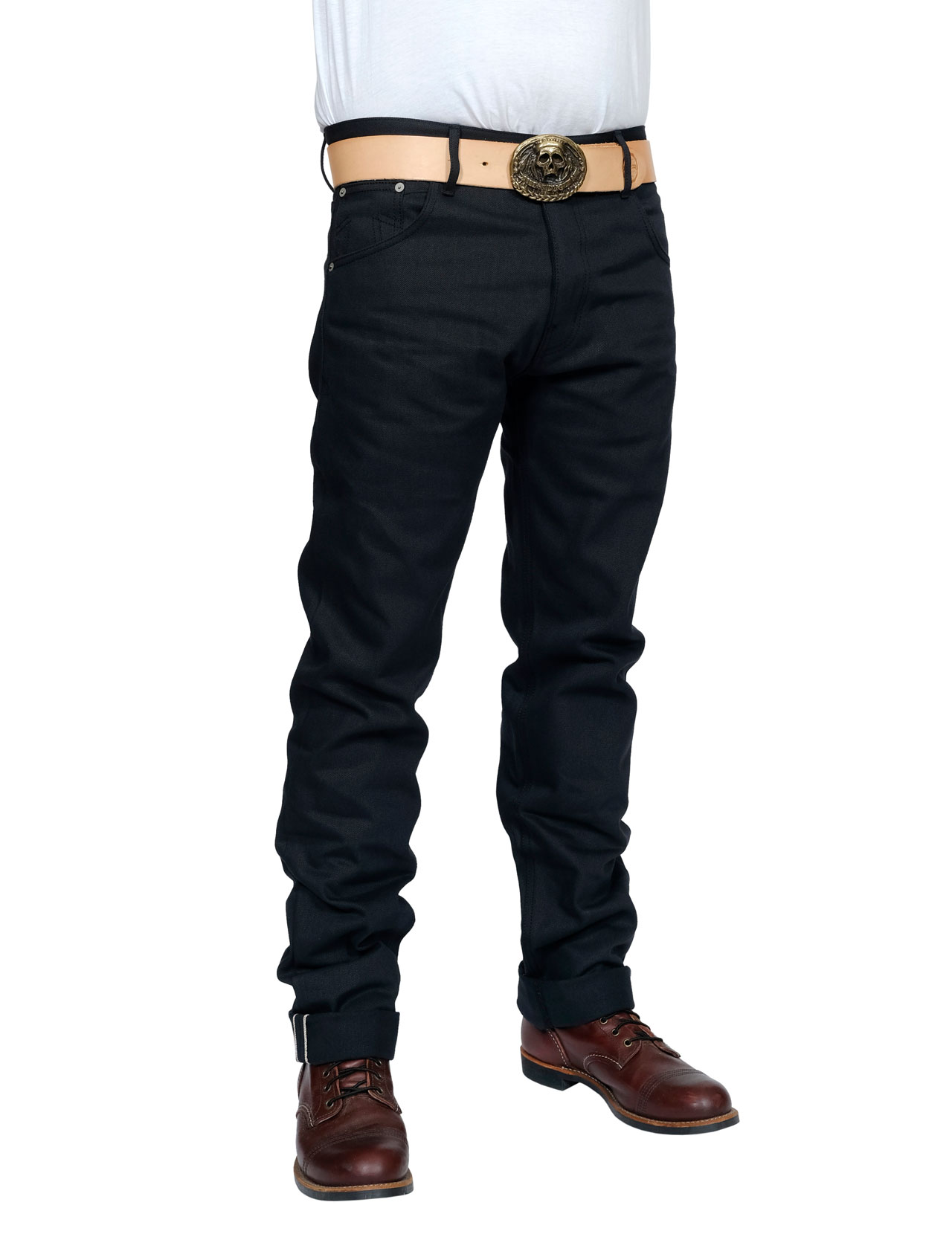 Eat Dust - Fit 76 Bloodline Raw Selvage Jeans - Black 14 oz