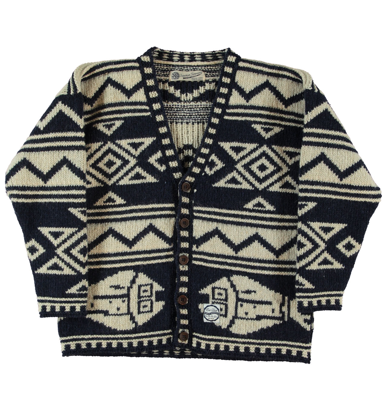 Girls Of Dust - Womens Alpapus Cardigan - Navy/Off White