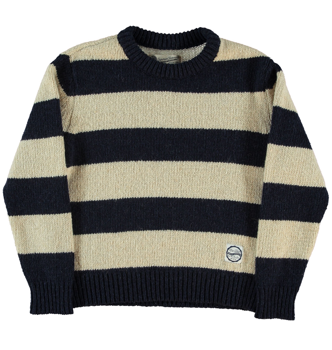 Girls Of Dust - Womens Alpapus Wool Sweater - Navy/Off White