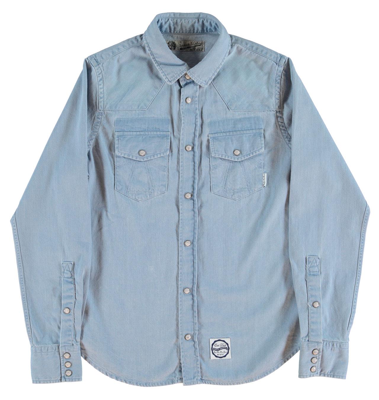 Girls Of Dust Womens Western Denim Shirt Light Blue