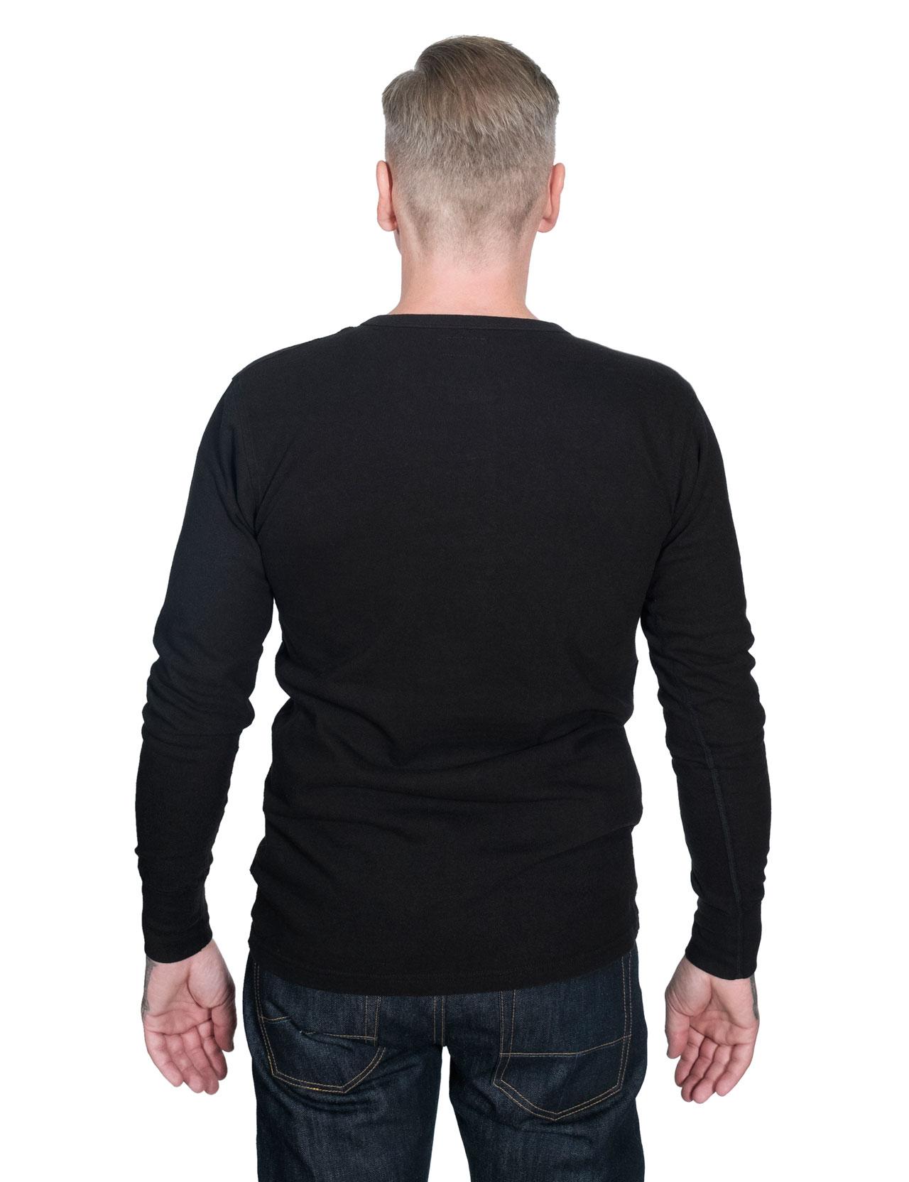Homespun Knitwear - Lot 003 Surplus Henley Long Sleeve - Aged Black