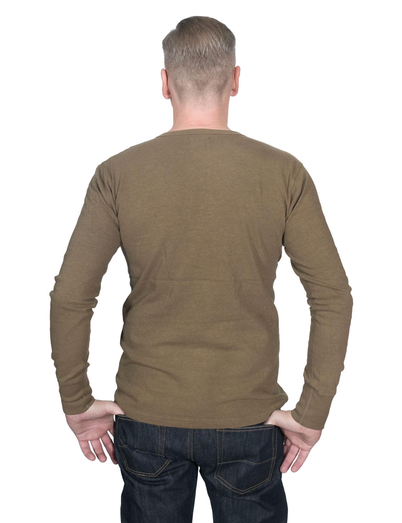 b91f89ab54f Homespun Knitwear - Lot 003 Surplus Henley Long Sleeve - Olive Drab