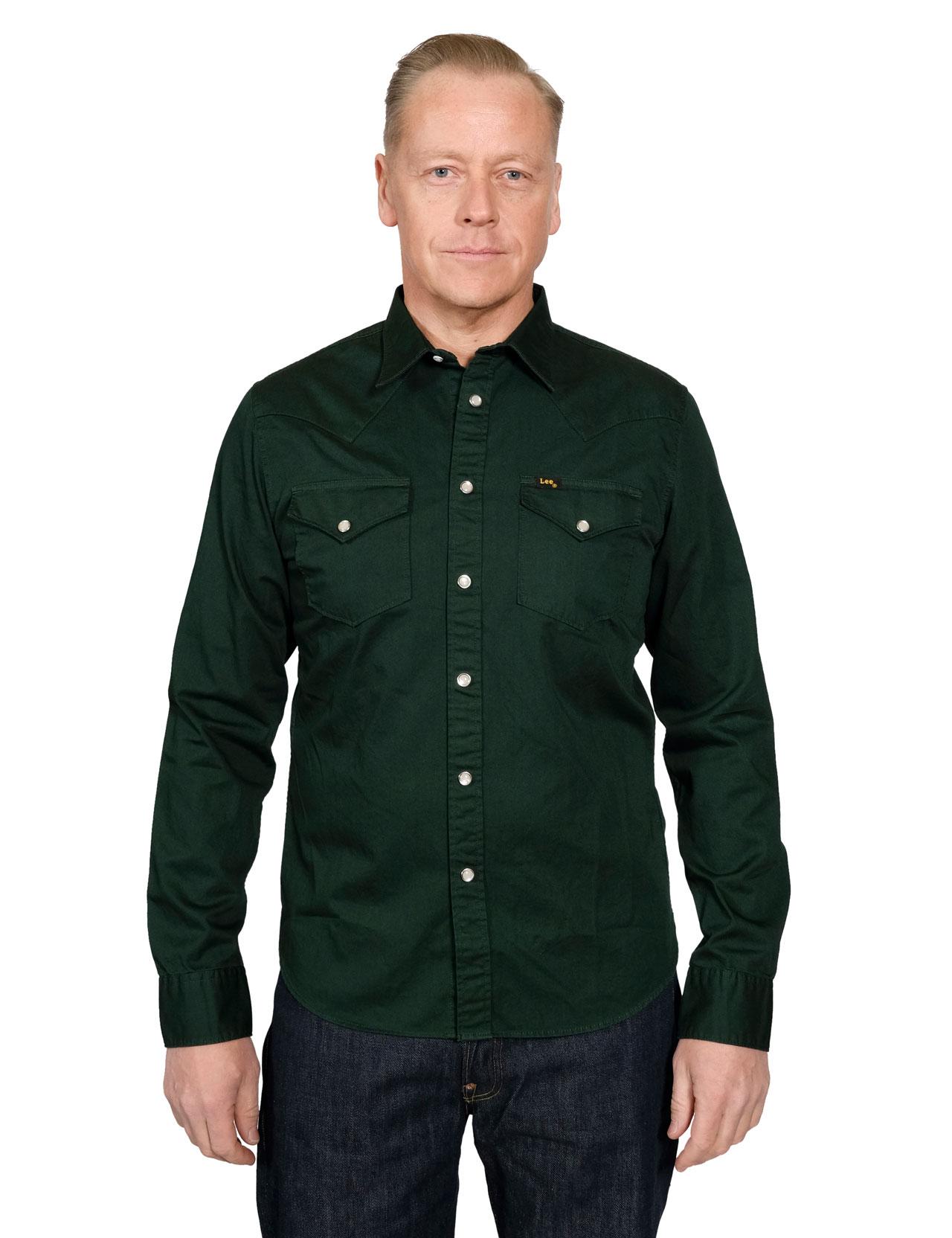 9f8c05a5 Lee - 101 Western Shirt - Bottle Green