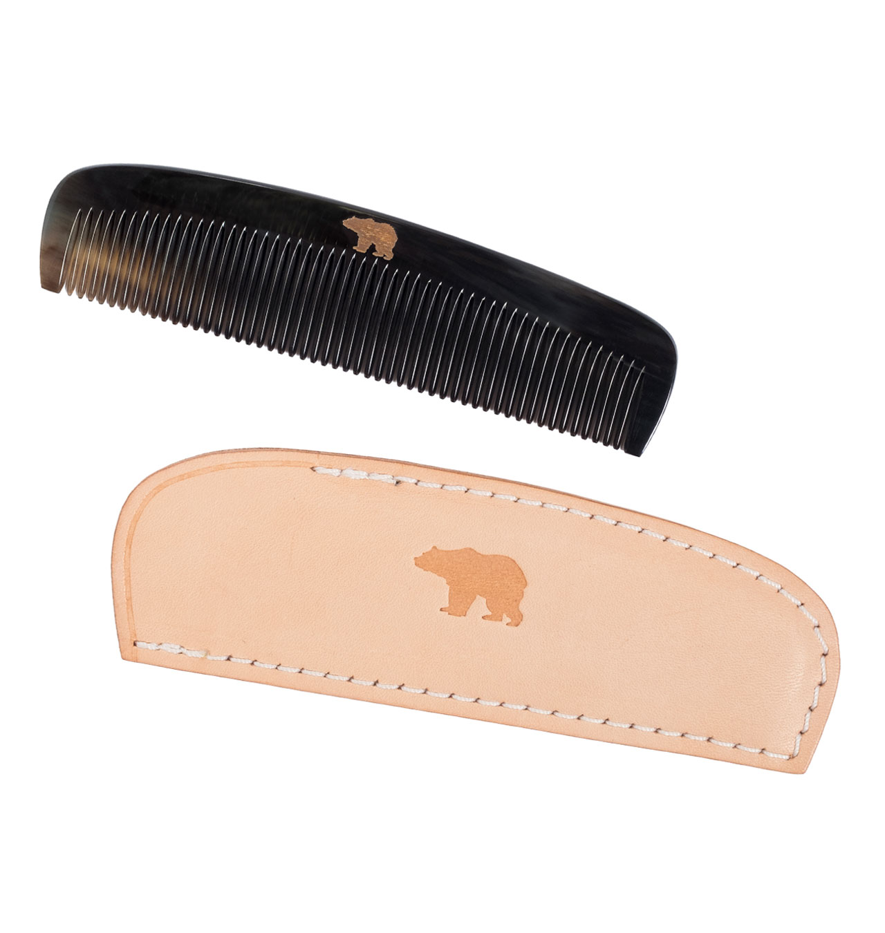 Ondura---Horn-Comb-with-Leather-Case---Tan