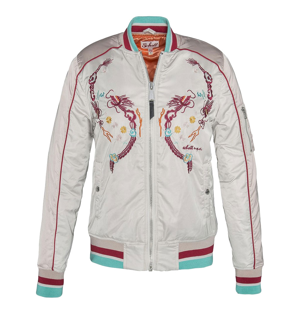 Schott N.Y.C - Ladies Ma-1 Suka Souvenir College Jacket - Skin/Off White