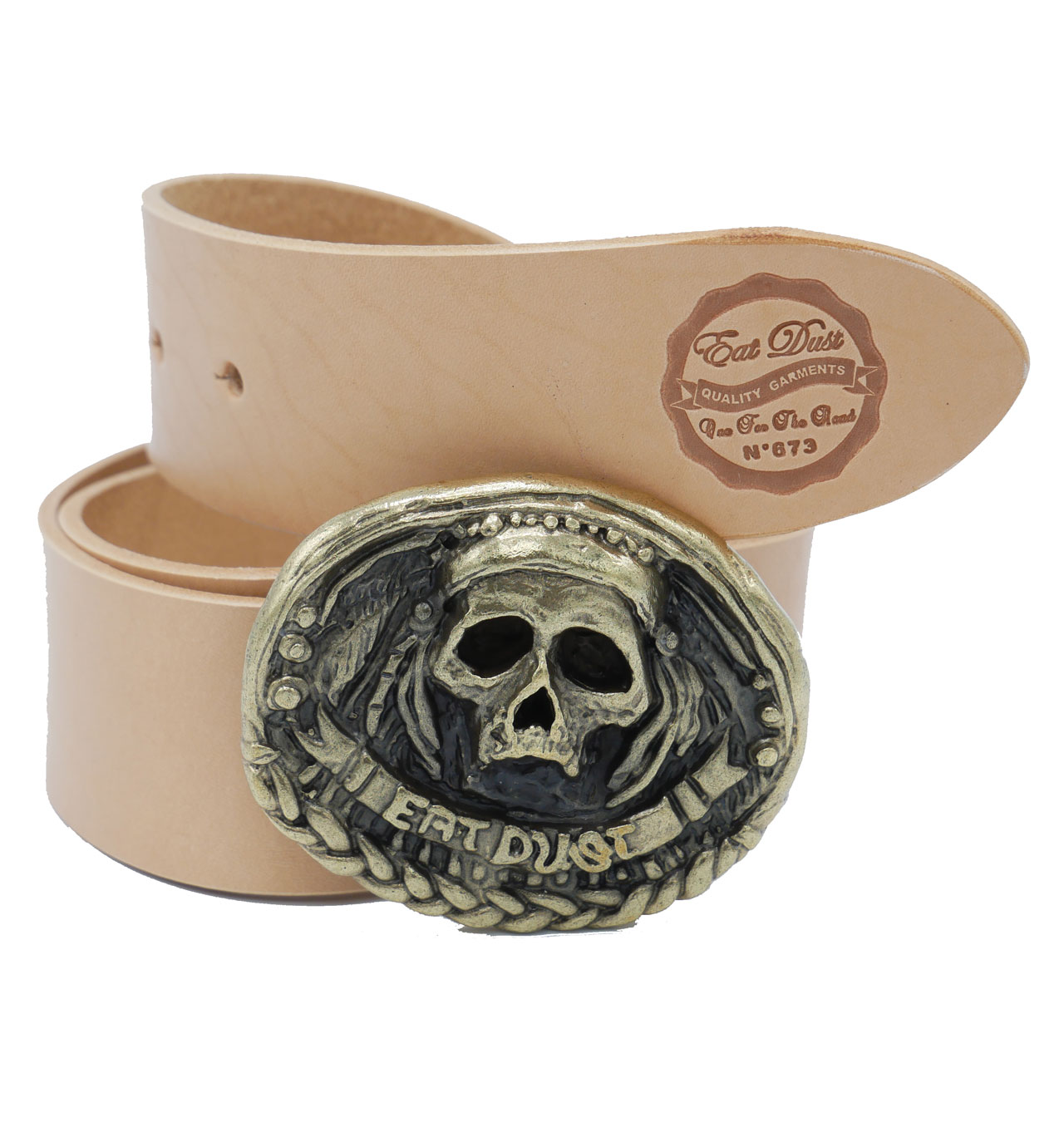 Eat Dust - Coleman Skull Leather Belt - Natural
