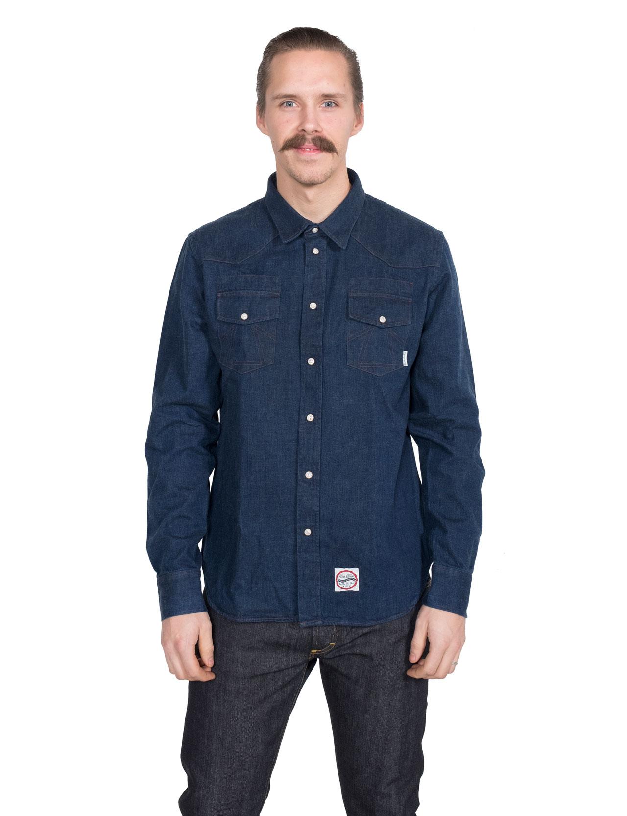 0cfc3e62502 Eat Dust - Heavy Denim Western Shirt - Indigo Blue