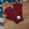 Upstate Stock - Fingerless Wool Acrylic Gloves - Red/Brown