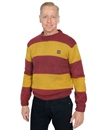 Eat Dust - Knit Striped Kid Mohair R-Neck Sweater - Bordeaux/Yellow