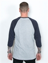 LDC - Stolen Goods Baseball Tee - Oxford Grey/Navy